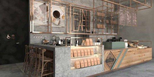 Projekt wnętrza kawiarni etno cafe