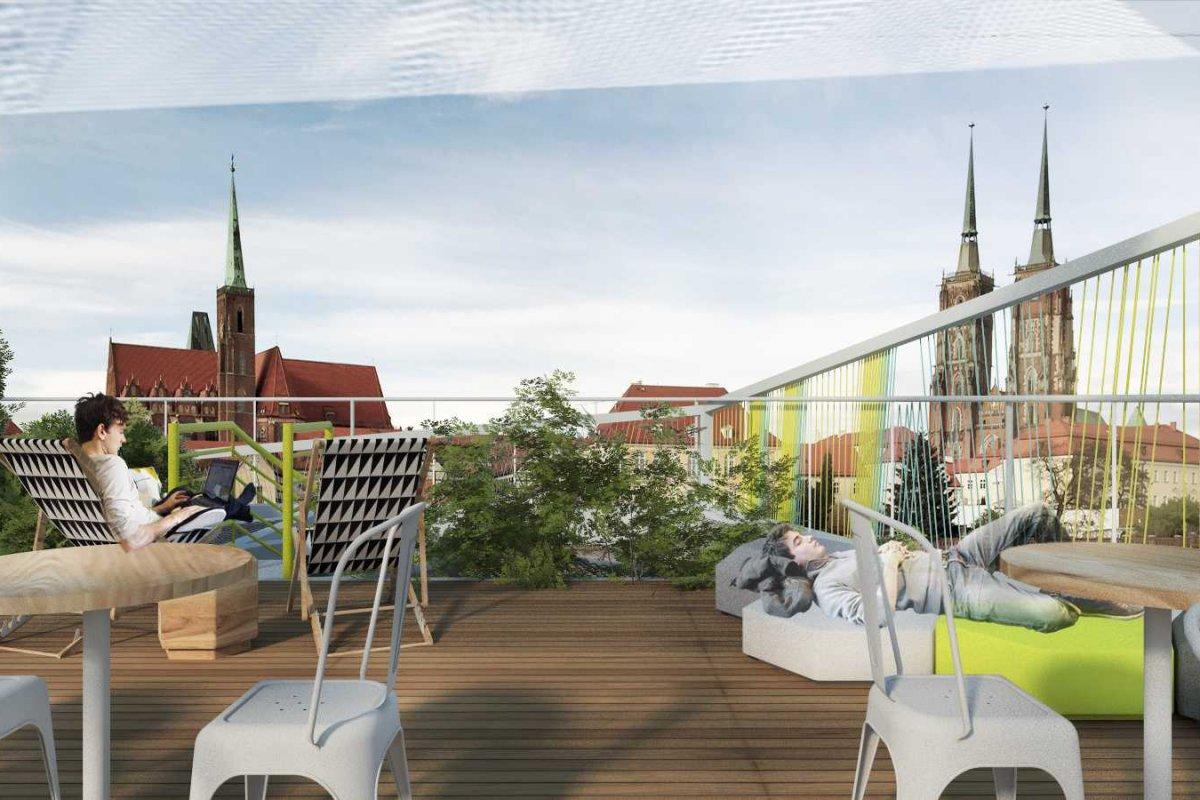 Projekt ogródka gastronomicznego przy bulwarze Xaverego Dunikowskiego we Wrocławiu.