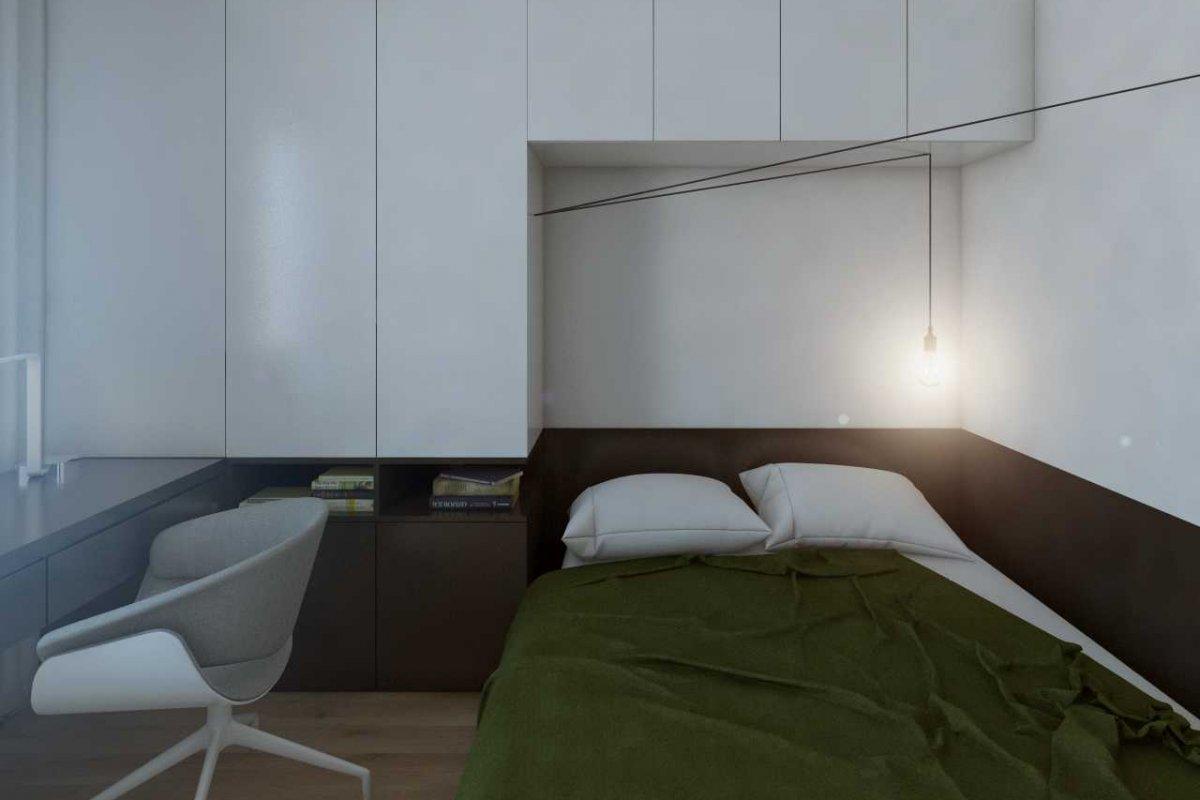 projekt wnętrz mieszkania dla studenta we wrocławiu, architektura wnętrz i projekt sypialni