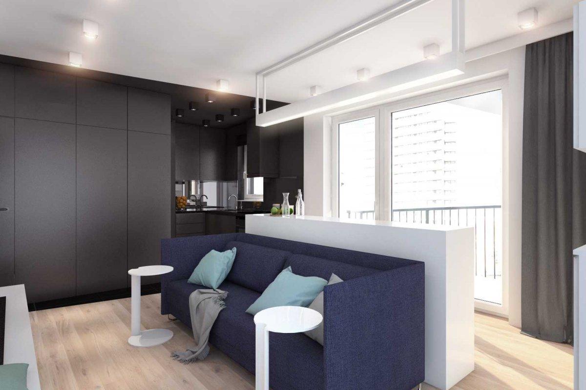 projekt wnętrz mieszkania dla studenta we wrocławiu, architektura wnętrz i projekt salonu z jadalnią