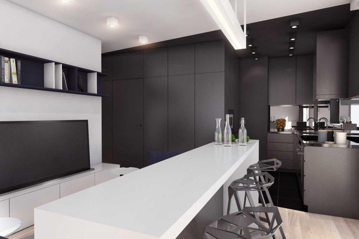 projekt wnętrz mieszkania dla studenta we wrocławiu, architektura wnętrz i projekt kuchni z jadalnią