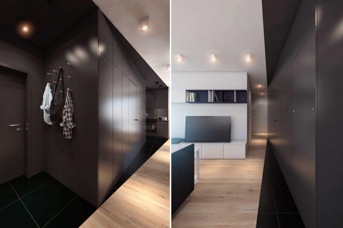 projekt wnętrz mieszkania dla studenta we wrocławiu, architektura wnętrz i projekt przedpokoju