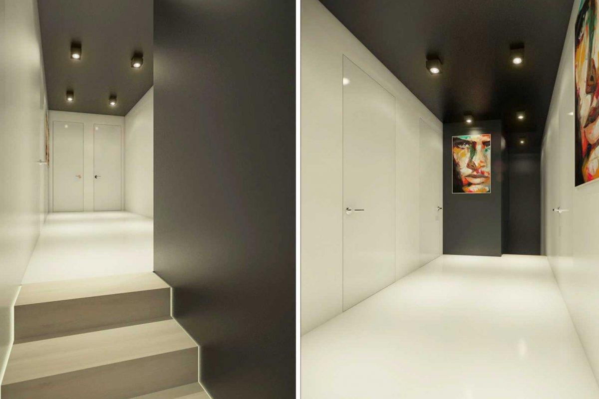 Projekt wnętrz domu salon klatka schodowa