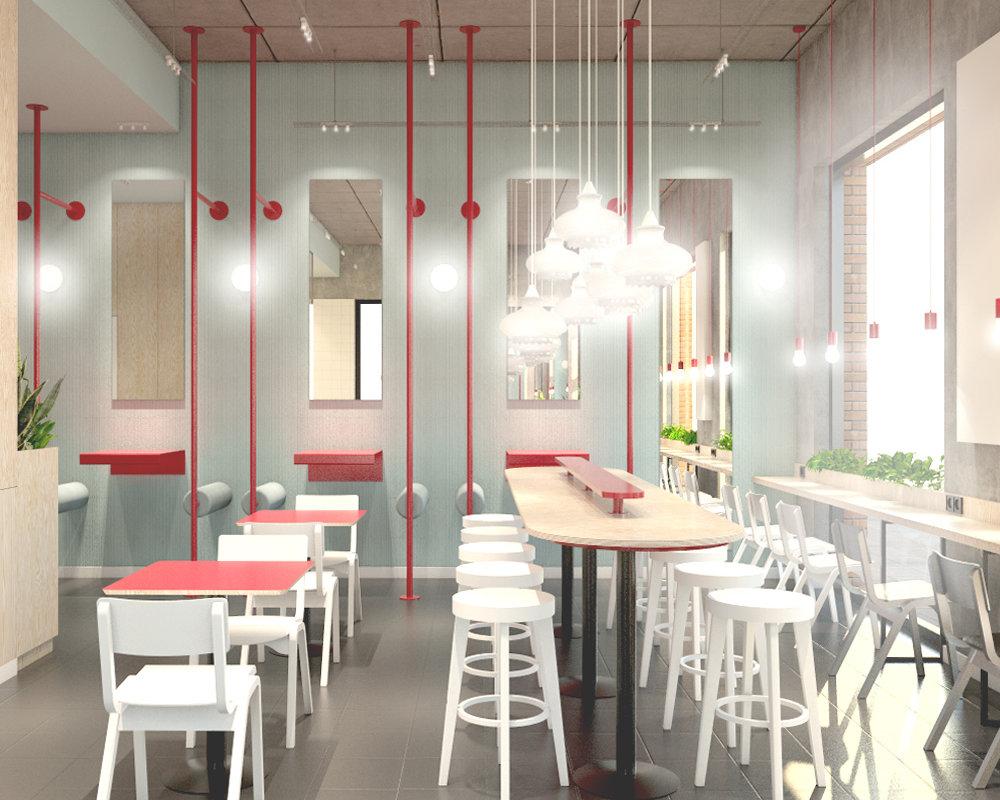projekt wnętrza pierogarni, projekt lokalu gastronomicznego