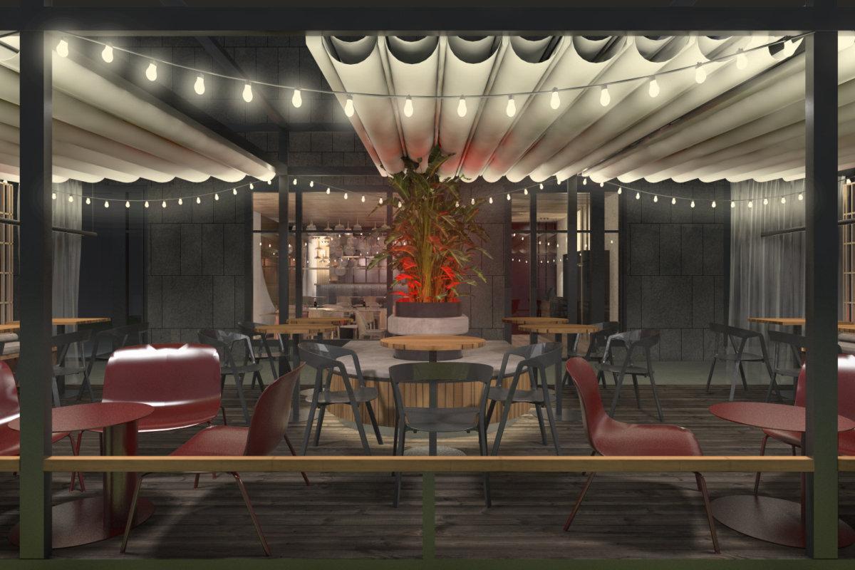 projekt wnętrz sushi baru we wrocławiu, projekt wnętrz gastronomii i ogródka