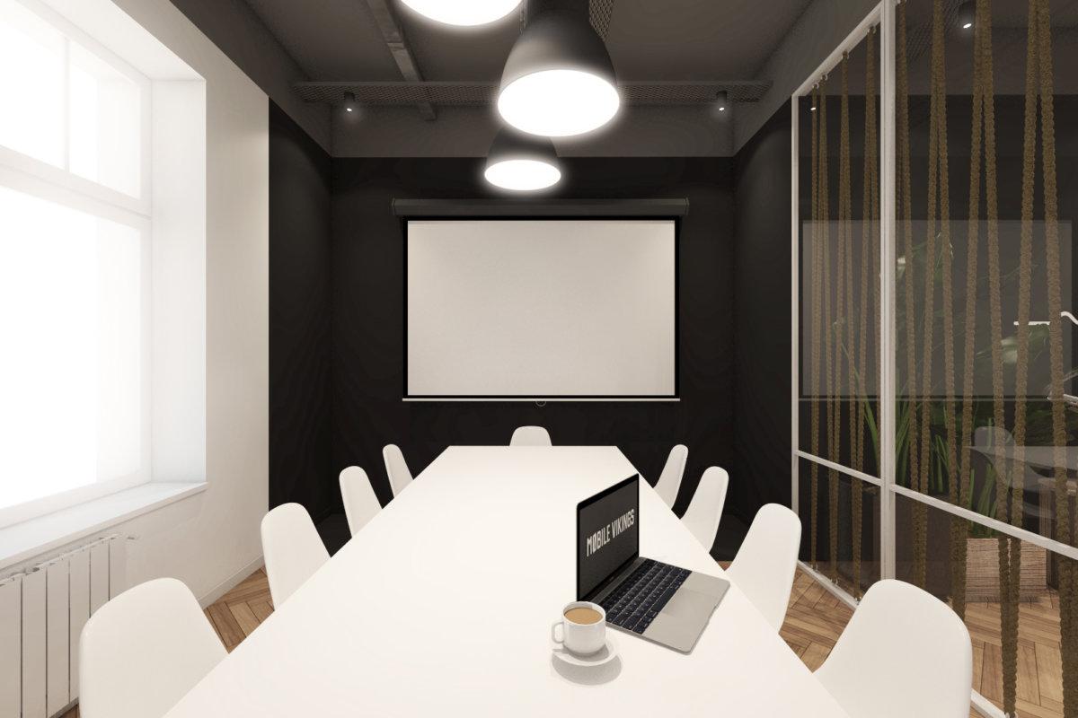 projekt wnętrz biura mobile vikings, projekt wnętrz przestrzeni biurowej