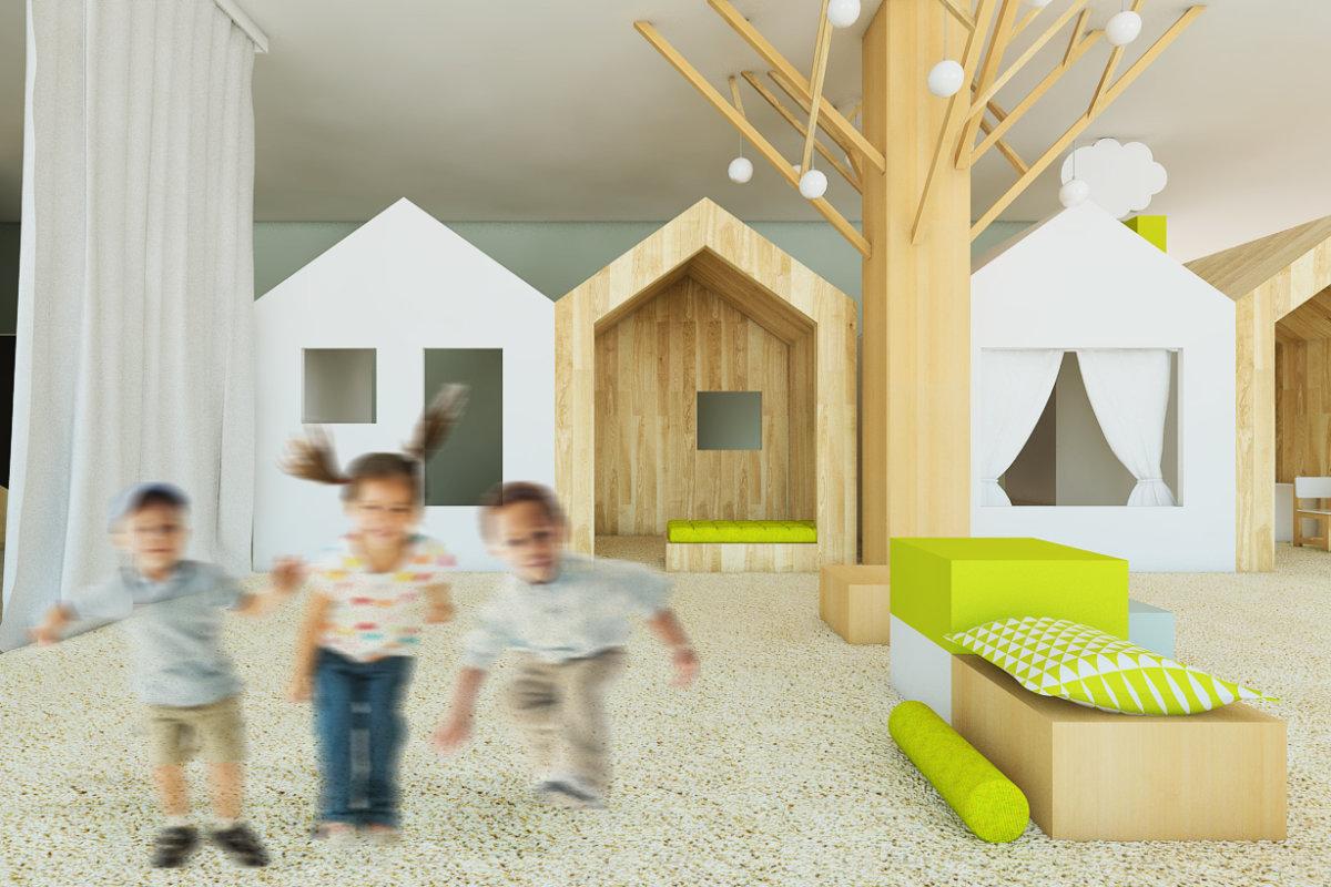 projekt wnętrz przedszkola, projekt wnętrz przestrzeni dla dzieci