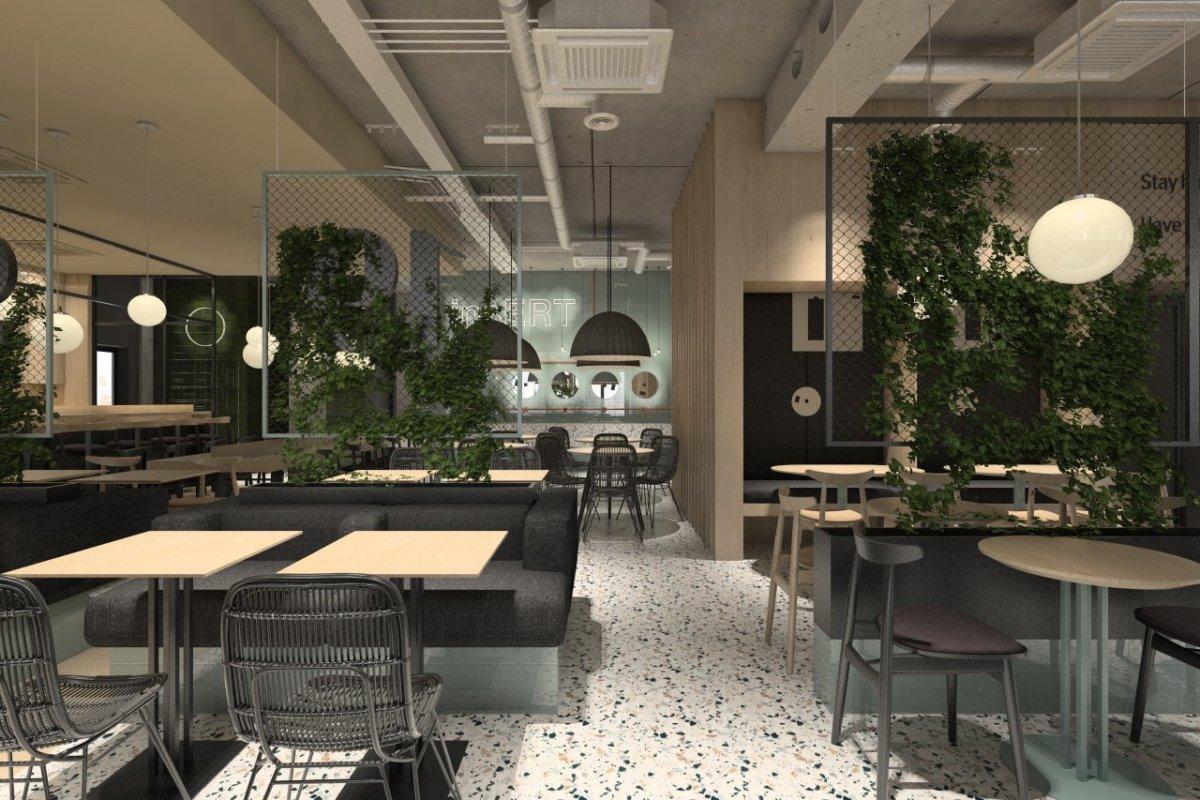 projekt wnętrz firmy Insert, projekt przestrzeni wspólnej i ogródka