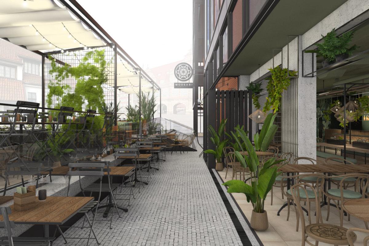 projekt wnętrz restauracji woosabi w Gdańsku, projekt wnętrz gastronomii