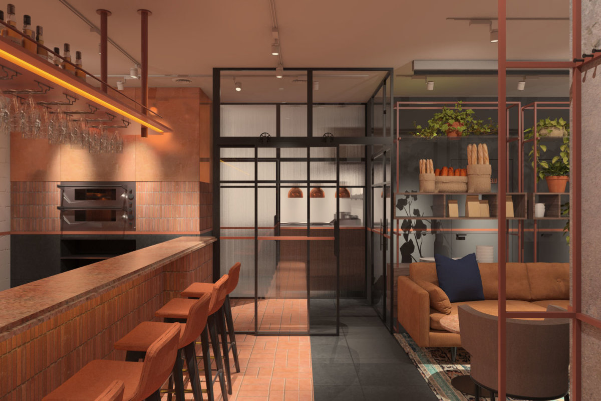 projekt wnętrz restauracji, projekt wnętrz gastronomii