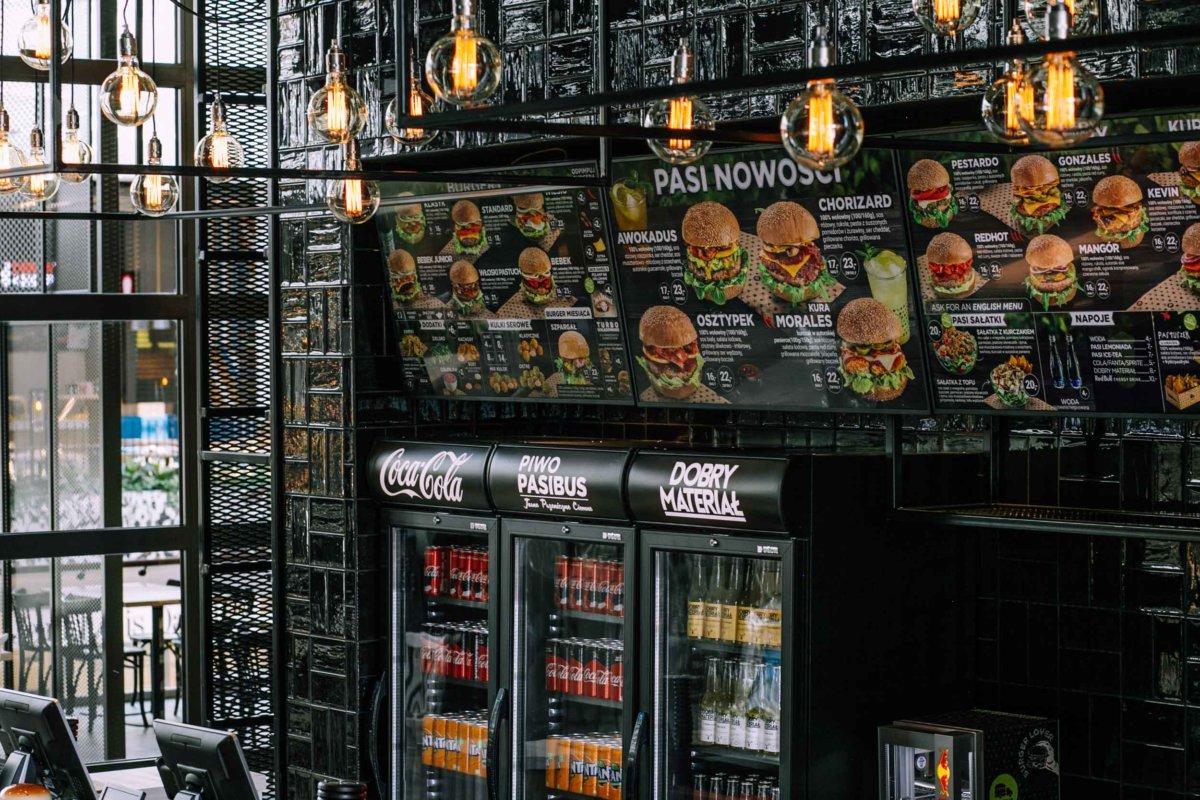 projekt wnętrz burgerowni pasibus, projekt wnętrz gastronomii